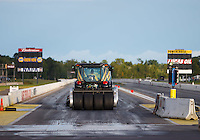 Aug 20, 2016; Brainerd, MN, USA; NHRA safety safari tire dragger traction tractor during qualifying for the Lucas Oil Nationals at Brainerd International Raceway. Mandatory Credit: Mark J. Rebilas-USA TODAY Sports