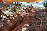 Nungwi, Zanzibar, Tanzania.  Dhow Keel Under Construction, Boat Building.