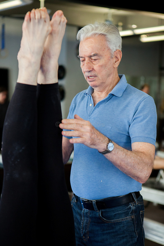 Ivo Lupis, 84, has been working as a personal trainer on 57th St since 1967. His recently client age spans from ages 4-93, though he now mostly works with seniors. Pictured, Lenore Harris, 62, who has trained with Lupis for more than 15 years.<br /> <br /> Danny Ghitis for The New York Times