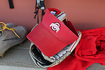 19 February 2017: Ohio State visor and glove. The Ohio State University Buckeyes played the University of Louisville Cardinals at Anderson Family Softball Stadium in Chapel Hill, North Carolina as part of the ACC/Big 10 College Softball Challenge. OSU won the game 4-3.