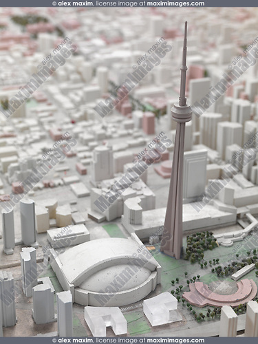 Model of the City of Toronto downtown with CN tower in the middle