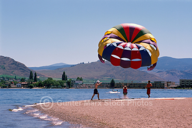 Parasailing Take Off from Beach at Osoyoos Lake, Osoyoos, BC, South Okanagan Valley, British Columbia, Canada, Summer