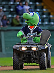 25 August 2008: Vermont Lake Monsters' mascot Champ entertains the fans on his ATV prior to a game against the Hudson Valley Renegades at historic Centennial Field in Burlington, Vermont. The Lake Monsters defeated the Renegades 8-5 in the second game of their three-game series in Vermont...Mandatory Credit: Ed Wolfstein Photo
