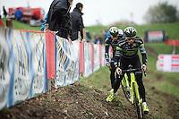 Sven&amp;Sven at recon: Sven Vanthourenhout (BEL/Crelan-AADrinks) preceding teammate Sven Nys (BEL/Crelan-AAdrinks) on the tricky slope<br /> <br /> Jaarmarktcross Niel 2015