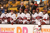 Devin Tringale (Harvard - 22), Ryan Donato (Harvard - 16), Ted Donato (Harvard - Head Coach), Ty Pelton-Byce (Harvard - 11), Michael Floodstrand (Harvard - 44), Rob Rassey (Harvard - Assistant Coach), Phil Zielonka (Harvard - 72), Lewis Zerter-Gossage (Harvard - 77), Alexander Kerfoot (Harvard - 14) - The Harvard University Crimson defeated the Northeastern University Huskies 4-3 in the opening game of the 2017 Beanpot on Monday, February 6, 2017, at TD Garden in Boston, Massachusetts.