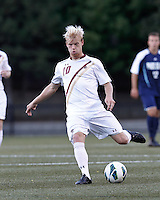 Boston College midfielder Kyle Bekker (10) passes the ball. Boston College defeated University of Rhode Island, 4-2, at Newton Campus Field, September 25, 2012.