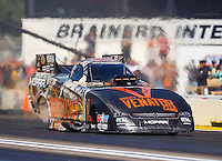 Aug 21, 2016; Brainerd, MN, USA; NHRA funny car driver Matt Hagan during the Lucas Oil Nationals at Brainerd International Raceway. Mandatory Credit: Mark J. Rebilas-USA TODAY Sports