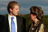 Oct. 04, 2011 - Charlottesville, VA. USA; Eric Trump, left, talks with patricia Kluge, right, during a press conference announcing the grand opening of Trump Vineyard Estates Tuesday in Charlottesville, Va. Trump purchased the foreclosed vineyard, previously owner by Patricia Kluge, at auction earlier this year. The 2,000 acre Trump Vineyard estate is also the home to Trump Winery, helmed by Donald's son Eric Trump.  (Credit Image: © Andrew Shurtleff)