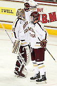 Parker Milner (BC - 35),Pat Mullane (BC - 11) - The Boston College Eagles defeated the visiting Boston University Terriers 5-2 on Saturday, December 1, 2012, at Kelley Rink in Conte Forum in Chestnut Hill, Massachusetts.