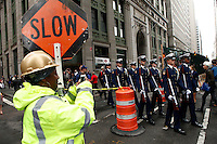 New York, USA. 22nd May, 2014. Members of U.S. Coast Guard Silent Drill Team march to the national 9-11 memorial during the Fleet Week in New York.  Kena Betancur/VIEWpress