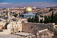 December 1980 --- The Wailing Wall, the Dome of the Rock and Al-Aqsa Mosque in Jerusalem. --- Image by © JP Laffont