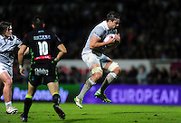 Elliott Stooke of Bath Rugby claims the ball in the air. European Rugby Challenge Cup match, between Pau (Section Paloise) and Bath Rugby on October 15, 2016 at the Stade du Hameau in Pau, France. Photo by: Patrick Khachfe / Onside Images