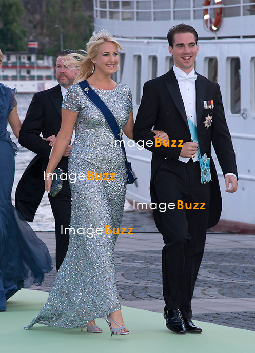 PRINCESS THEODORA AND PRINCE PHILIPPOS OF GREECE<br /> arrive for a boat ride to Drottingholm Palace for the Wedding Banquet Riddarholmen, Stockholm, Sweden_08/06/2013<br /> Princess Madeleine married Christopher O'Neill at the Royal Chapel, Royal Palace in Stockholm