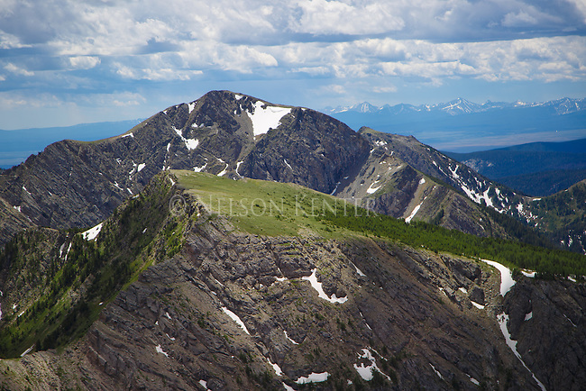 McGlaughlin Peak and south as viewed from Warren Peak in the Anaconda Pintler Wilderness in western Montana.