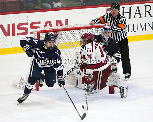 Matt Foley (Yale - 4), Alexander Kerfoot (Harvard - 14), Sam Tucker (Yale - 1) - The Harvard University Crimson defeated the Yale University Bulldogs 6-4 in the opening game of their ECAC quarterfinal series on Friday, March 10, 2017, at Bright-Landry Hockey Center in Boston, Massachusetts.