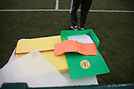 Hungarian fourth official Ferenc Bede's paperwork on view during the The New Saints versus Bohemians game at Park Hall Stadium, Oswestry in the Champions League 2nd qualifying round 2nd leg game. Despite leading 1-0 from the first leg, the Dublin club went out following their 4-0 defeat by the Welsh champions. The match was the first-ever Champions League match in the UK played on an artificial pitch and was staged at the Welsh Premier League's ground which was located over the border in England.
