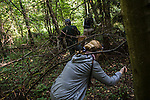 Scrambling through the forest in search of mushrooms on Sunday, August 18, 2013 in Potapovo, Russia.