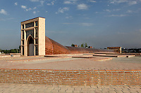 General view of Ulug Beg Observatory, 1420s, Samarkand, Uzbekistan, pictured on July 17, 2010, in the afternoon. Ulugh Beg built this observatory to advance astronomical study at his Madrasah and appointed Ali Qushji to direct it. Other astronomers associated with the observatory included Qadizada al-Rumi and Jamshid Kashani. Destroyed by religious fanatics in 1449 the observatory was re-discovered in 1908, by V L Vyatkin. One of his most exciting discoveries was the Fakhri sextant, a large arch used for the observation of the Sun, Moon and other celestial bodies, and to determine midday, which was placed in a trench dug into a hill along the line of the Meridian. Samarkand, a city on the Silk Road, founded as Afrosiab in the 7th century BC, is a meeting point for the world's cultures. Its most important development was in the Timurid period, 14th to 15th centuries. Picture by Manuel Cohen.