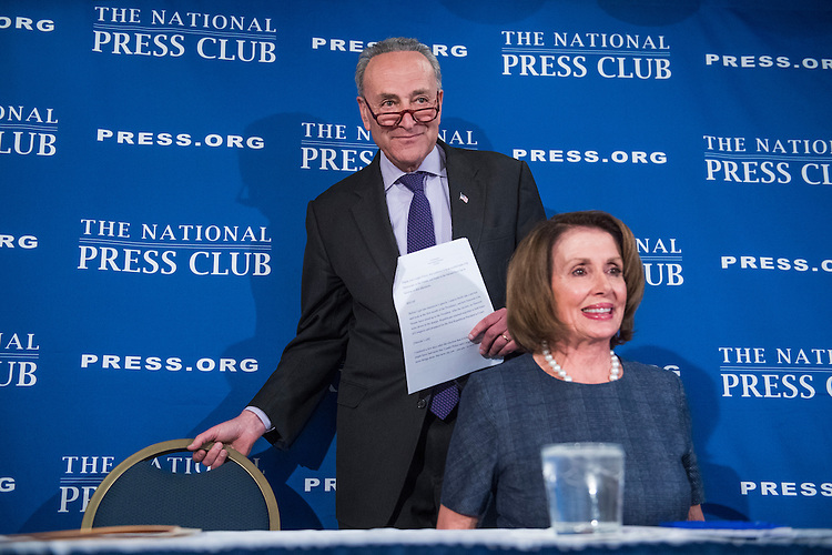 UNITED STATES - FEBRUARY 27: Senate Minority Leader Charles Schumer, D-N.Y., and House Minority Leader Nancy Pelosi, D-Calif., deliver a prebuttal at the National Press Club to tomorrow's address to a joint session of Congress by President Donald Trump, February 27, 2017. (Photo By Tom Williams/CQ Roll Call)