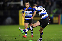 Rhys Priestland of Bath Rugby kicks for the posts to win the match. Aviva Premiership match, between Bath Rugby and Northampton Saints on February 10, 2017 at the Recreation Ground in Bath, England. Photo by: Patrick Khachfe / Onside Images