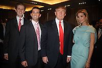 Eric Trump, Donald Trump Jr., Donald Trump and Ivanka Trump at the ribbon cutting ceremony for Trump SoHo New York in New York City April 9, 2010.. Credit: Dennis Van Tine/MediaPunch