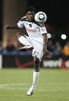 Sheanon Williams controls the ball. The San Jose Earthquakes tied the Philadelphia Union 0-0 at Buck Shaw Stadium in Santa Clara, California on July 9th, 2011.