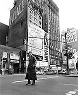 Manhattan, New York City, USA. January 1971. French Singer Joe Dassin in Times Square, New York.