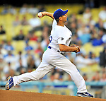 23 July 2011: Los Angeles Dodgers pitcher Ted Lilly on the mound against the Washington Nationals at Dodger Stadium in Los Angeles, California. The Dodgers rallied to defeat the Nationals 7-6 on a Rafael Furcal walk-off, RBI double in the bottom of the 9th inning. Mandatory Credit: Ed Wolfstein Photo
