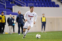 Jimmy Mulligan (7) of the St. John's Red Storm. St. John's defeated Villanova 2-0 during the second semifinal match of the Big East Men's Soccer Championships at Red Bull Arena in Harrison, NJ, on November 11, 2011.