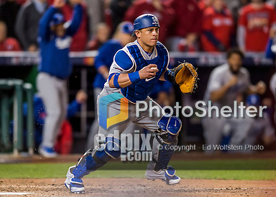 14 October 2016: Los Angeles Dodgers catcher Carlos Ruiz gets the final out in the 9th inning of the NLDS Game 5 against the Washington Nationals at Nationals Park in Washington, DC. The Dodgers edged out the Nationals 4-3, to take Game 5, and the Series, 3 games to 2, moving on to the National League Championship against the Chicago Cubs. Mandatory Credit: Ed Wolfstein Photo *** RAW (NEF) Image File Available ***