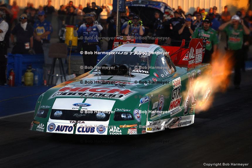 MADISON, IL - MAY 4: John Force drives his Funny Car in the OReilly NHRA Midwest Nationals on May 4, 2008, at Gateway International Raceway near Madison, Illinois.
