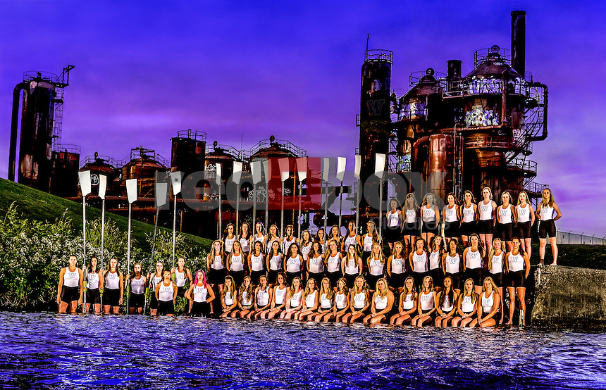 The 2016 University of Washington women's rowing team at Gas Works Park in Seattle on May 31, 2016. (Photography by Scott Eklund/Red Box Pictures)