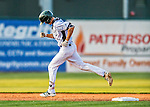4 September 2016: Vermont Lake Monsters outfielder Luke Persico rounds the bases after hitting a home run to lead off the 6th inning against the Lowell Spinners at Centennial Field in Burlington, Vermont. The Lake Monsters fell to the Spinners 8-3 in NY Penn League action. Mandatory Credit: Ed Wolfstein Photo *** RAW (NEF) Image File Available ***