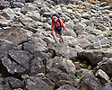 WA06820-00...WASHINGTON - Hiker along the Pacific Ocean near Chilean Memorial in Olympic National Park. (MR#H2)