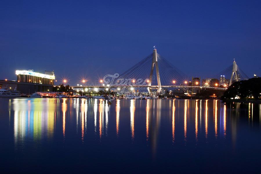 Anzac Bridge at dusk, whitebay, Sydney, Australia