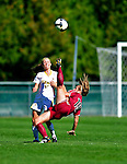 19 September 2010: Colgate University Raider forward Avery Atkins, a Sophomore from Dallas, TX, in action against the University of Vermont Catamounts at Centennial Field in Burlington, Vermont. The Raiders scored a pair of second half goals two minutes apart to notch a 2-0 victory over the Lady Cats in non-conference women's soccer play. Mandatory Credit: Ed Wolfstein Photo