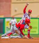 2 March 2013: St. Louis Cardinals infielder Ronny Cedeno gets Danny Espinosa out at second during a Spring Training game against the Washington Nationals at Roger Dean Stadium in Jupiter, Florida. The Nationals defeated the Cardinals 6-2 in their first meeting since the NLDS series in October of 2012. Mandatory Credit: Ed Wolfstein Photo *** RAW (NEF) Image File Available ***