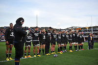 The Bath Rugby team line up for a minute silence prior to the match. European Rugby Champions Cup match, between Bath Rugby and Leinster Rugby on November 21, 2015 at the Recreation Ground in Bath, England. Photo by: Patrick Khachfe / Onside Images