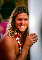 Brad Gerlach (USA) at the opening ceremony of the Quiksilver Eddie Aikau Big Wave Invitational at Waimea Bay, North Shore Oahu Hawaii  circa 1990 Photo: joliphotos.com