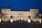 The Royal Palace illuminated at night in Turin - Torino, Italy
