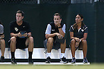 19 August 2016: UCF head coach Tiffany Roberts Sahaydak (right) with assistants (from right) Tim Sahaydak and Chris Cummings. The University of North Carolina Tar Heels hosted the University of Central Florida Knights in a 2016 NCAA Division I Women's Soccer match. UNC won the game 2-0