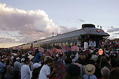 Las Vegas, New Mexico.USA.August 7, 2004..Democratic Presidentual nominee Sen. John Kerry and VP nominee Sen. John Edwards take a whistle stop tour through the south western US states. Supporters along the railway greet them..