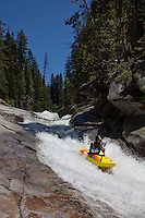 """Kayaker on Silver Creek 2"" - This kayaker was photographed on Silver Creek - South Fork, near Icehouse Reservoir, CA."