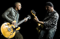 The Edge, U2  guitarist performs with the band during their 2009  360 tour at Sheffield  Don Valley Stadium 20 August