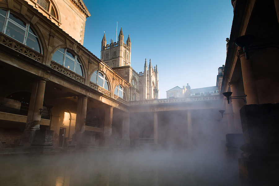 The Roman Baths Museum, Bath, UK, February 13, 2016. The UNESCO World Heritage city of Bath is famed for its hot spa that dates back to Roman times and for its Georgian architecture. For much of its history the city has been a popular holiday resort. It is the only hot spa in the UK.