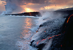 Steam rises as lava from Kilauea Volcano hits the Pacific Ocean, Hawaii Volcanoes National Park, USA