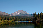 Lassen Peak and Manzanita Lake in the Shasta region of Northern California.Photo copyright Lee Foster.  Photo # california-lassen-park-cashas105307