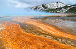 Fire & Ice.  Portion of the Grand Prismatic Spring in Yellowstone National Park in the state of Wyoming. At 300 feet long, it is the third largest hot spring in the world.