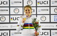 Picture by Simon Wilkinson/SWpix.com - 03/03/2017 - Cycling 2017 UCI Para-Cycling Track World Championships, Velosports Centre, Los Angeles USA - Amanda Reid winner AUS