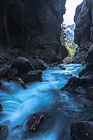 Box Canyon, Ouray Colorado. Box Canyon is a slot canyon that drains fourteen thousand foot Mount Sneffels that towers above the village of Ouray.